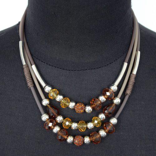 Collier-Triple-Rang-Perles-MarronJaune-et-Strass