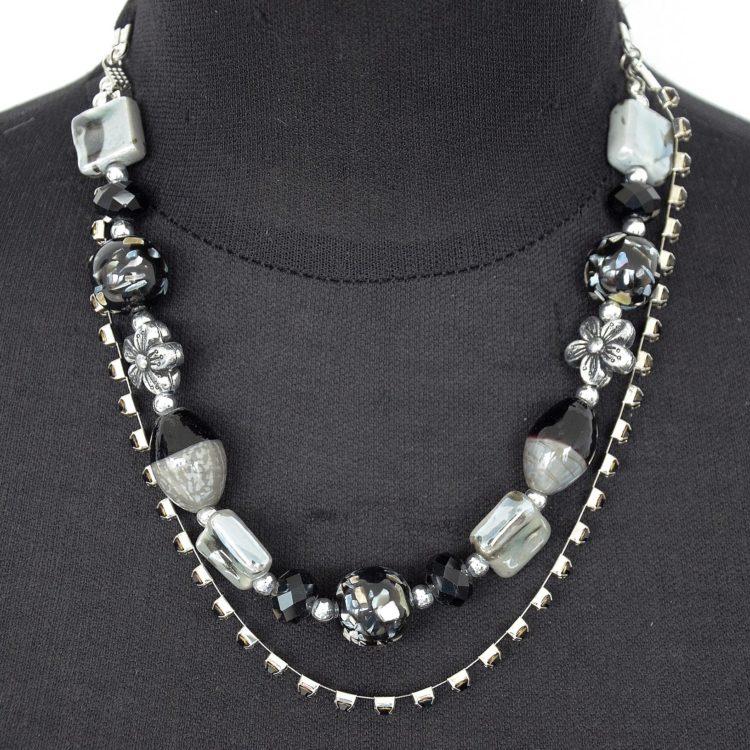 Collier-Double-Rang-Boules-Perles-et-Strass-Noir