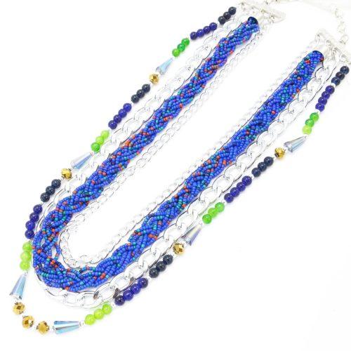 Collier-Multi-Rangs-Chaine-Metal-et-Perles-Rocaille-Bleu