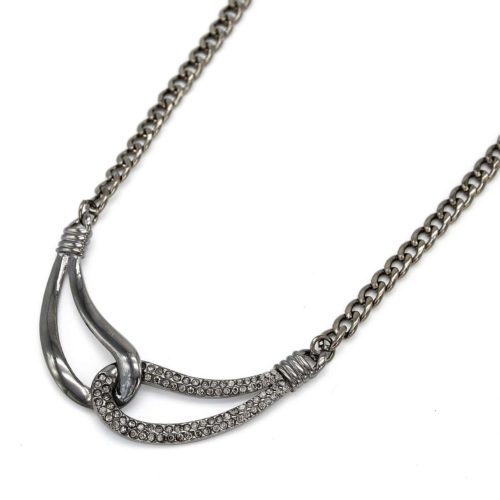 Collier-Pendentif-Boucles-Entrelacees-Amitie-Strass-Gris