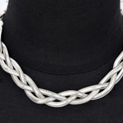 Collier-Triple-Chaine-Metal-Tresse-Argente