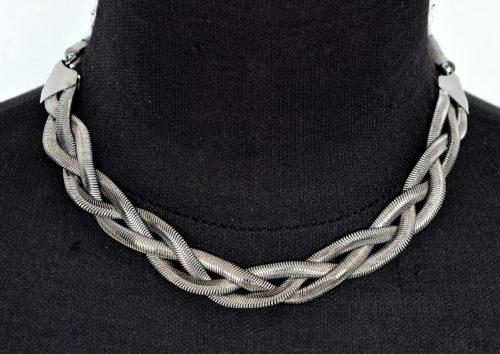 Collier-Triple-Chaine-Metal-Tresse-Gris