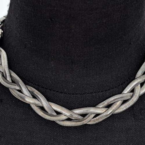 Collier-Triple-Chaine-Metal-Tresse-Gris