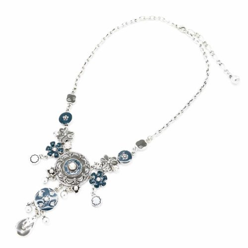 Collier-Pendentif-Cercles-et-Fleurs-Email-BleuGris-et-Metal-Strass