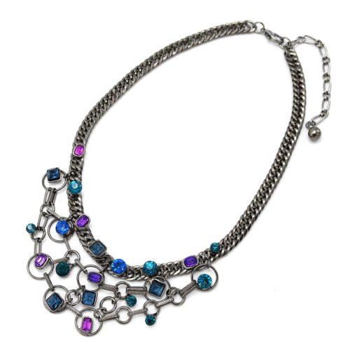 Collier-Plastron-Chaine-Maillons-Pendentif-Multi-Pierres-Multicolore