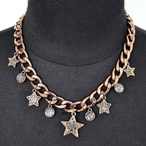 Collier-Chaine-Maillons-Metal-Marron-Pendentif-Etoiles-Strass