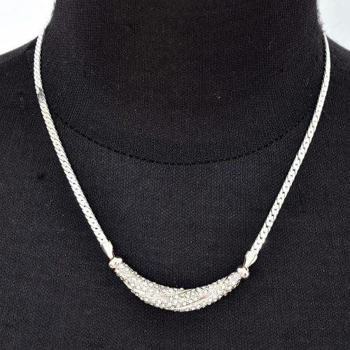 Collier-Chaine-Metal-et-Tube-Strass-Raye-Argente