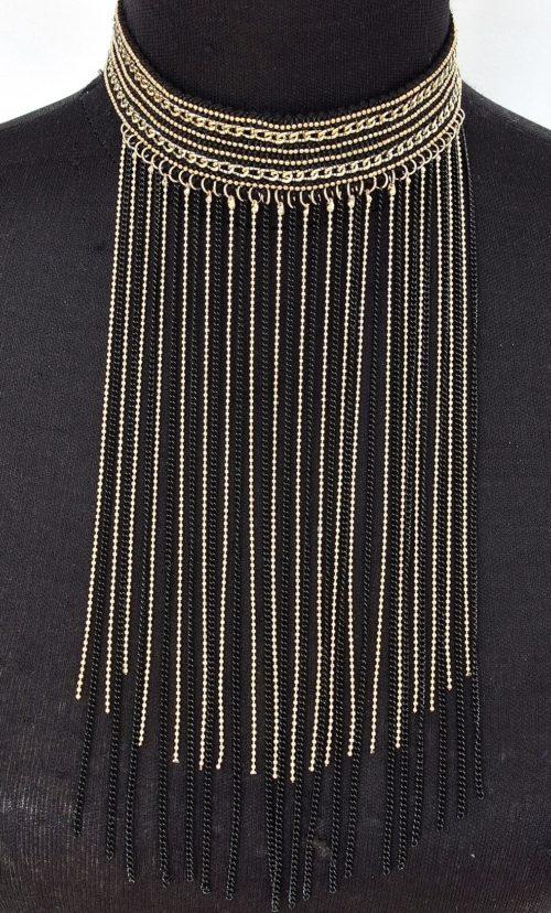 Collier-Tour-de-Cou-Style-Oriental-Chaines-Metal-DoreNoir