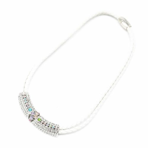 Collier-Tour-de-Cou-Double-Cordon-et-Tube-Strass-BlancArgente