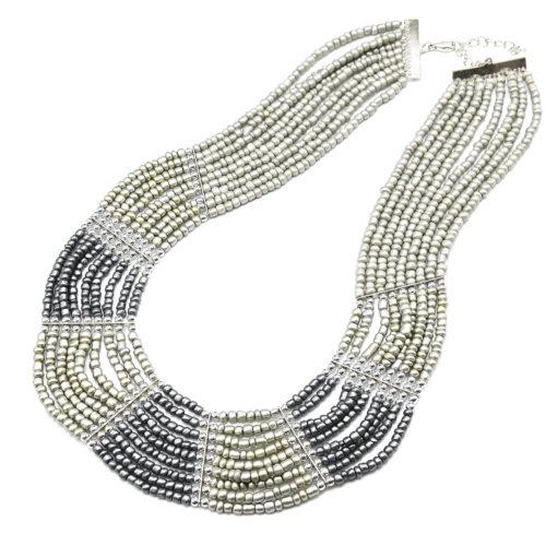 Collier-Plastron-Multi-Rangs-Perles-de-Rocaille-Opaques-Gris