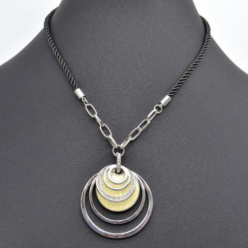 Collier-Cordon-Tresse-Noir-et-Pendentif-Multi-Cercles-Metal-Email-et-Strass-Argente