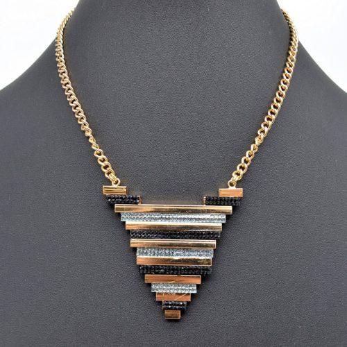 Collier-Pendentif-Triangle-Inverse-Multi-Bandes-Metal-Strass-DoreNoir