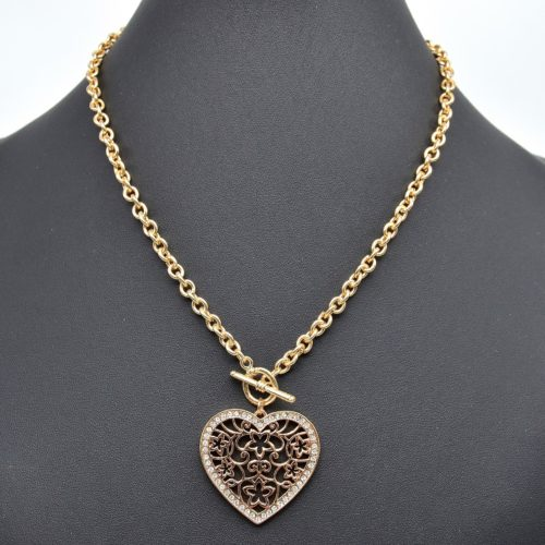 Collier-Chaine-Metal-Pendentif-Coeur-Fleuri-Contour-Strass-Dore