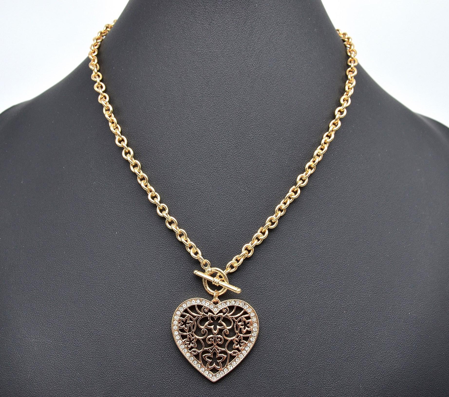 Collier chaine fantaisie coeur doré