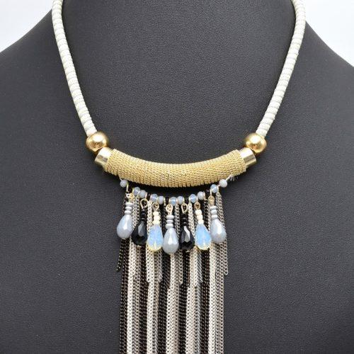 Collier-Plastron-Cordon-Tube-Metal-et-Multi-Chaines-Gris