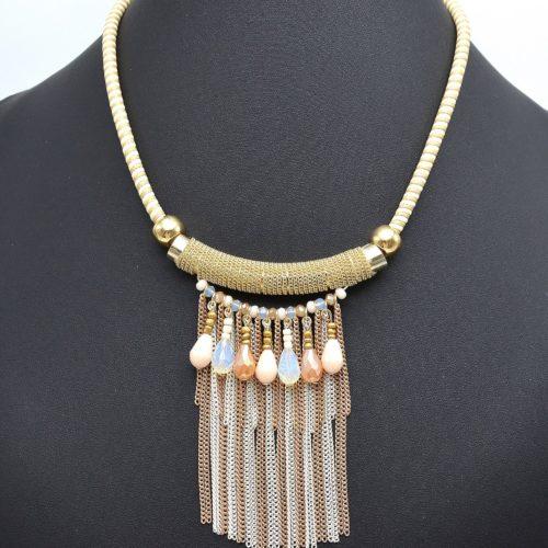 Collier-Plastron-Cordon-Tube-Metal-et-Multi-Chaines-Beige