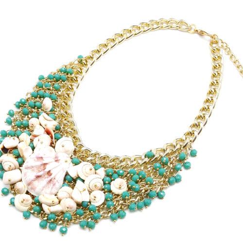 Collier-Plastron-Multi-Perles-Facettes-Vertes-et-Coquillages