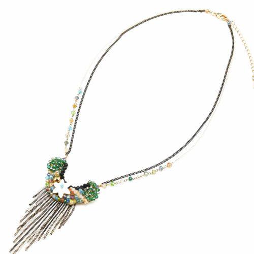 Collier-Pendentif-Fleur-Nacre-et-Pierres-Multicolore-avec-Multi-Chaines-Bicolore