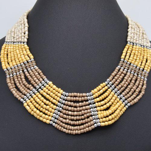 Collier-Multi-Rangs-Perles-de-Rocaille-Opaques-Beige-Marron