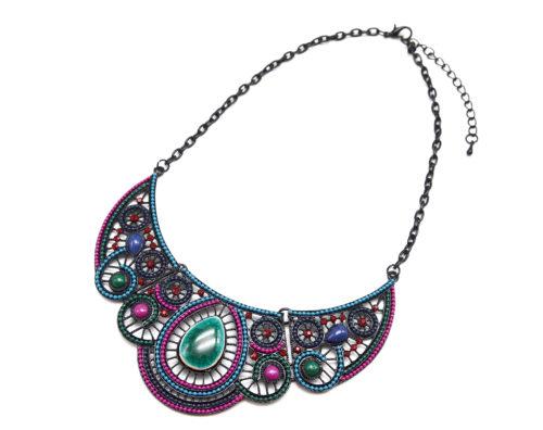 Collier-Plastron-Arabesques-Metal-Strass-Pierres-Multicolore