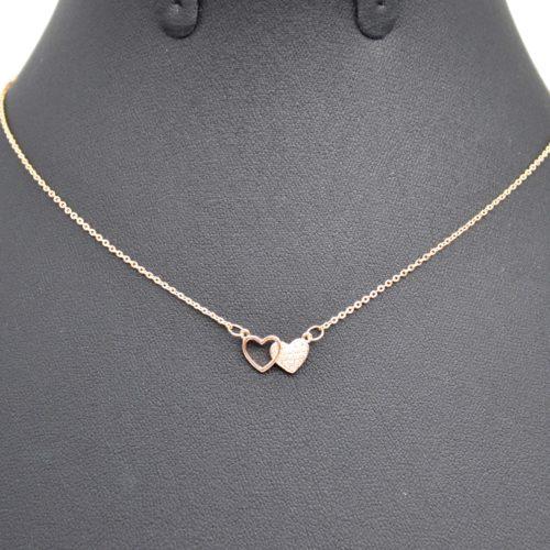 Collier-Fine-Chaine-Pendentif-Double-Coeurs-Metal-Or-Rose-et-Strass-Zirconium