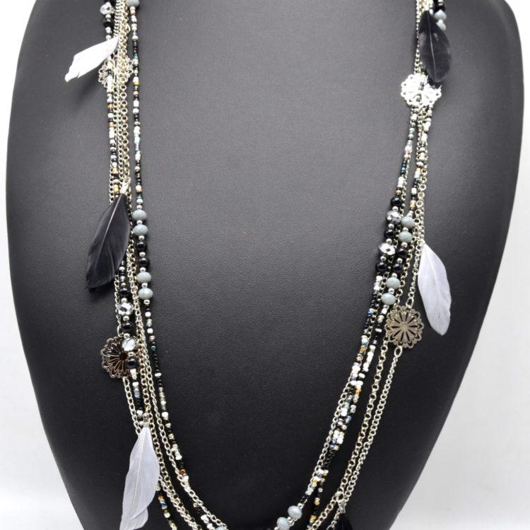 Sautoir-Collier-Multi-Chaines-Fleurs-Ciselees-Metal-et-Perles-de-Rocaille-avec-Plumes-Ethnique-NoirGris