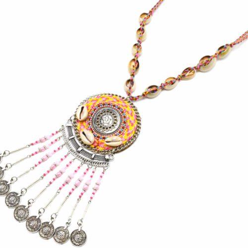 Sautoir-Collier-Cordon-Tresse-Cauris-avec-Cercle-Ethnique-Rose-et-Chaines-Pieces