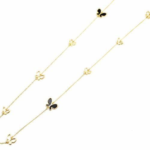 Sautoir-Collier-Fine-Chaine-avec-Charms-Papillons-Resine-Noire-et-Contour-Metal-Dore