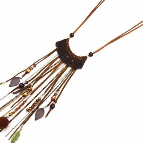 Sautoir-Collier-Cordons-Pendentif-Franges-Feutrine-Taupe-avec-Perles-Feuilles-et-Plumes