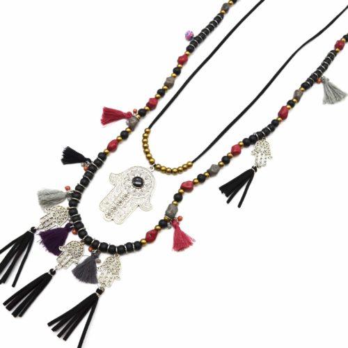Sautoir-Collier-Double-Rangs-Perles-Bois-Pierres-avec-Charms-Main-de-Fatma-et-Pompons-Multicolore