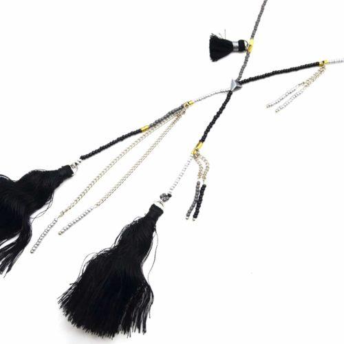 Sautoir-Collier-Fine-Rangee-Perles-Rocaille-avec-Multi-Pompons-Noir