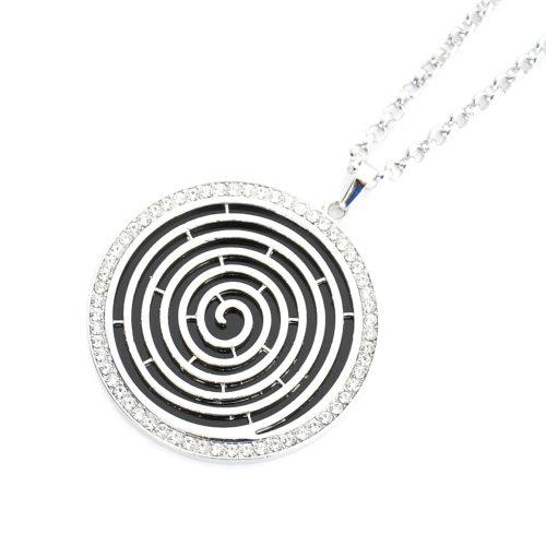 Sautoir-Collier-Pendentif-Spirale-Contour-Strass-Metal-Argente-et-Resine-Noire