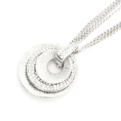 Sautoir-Collier-Multi-Chaines-Pendentif-Triple-Coquilles-Strass-et-Metal-Argente