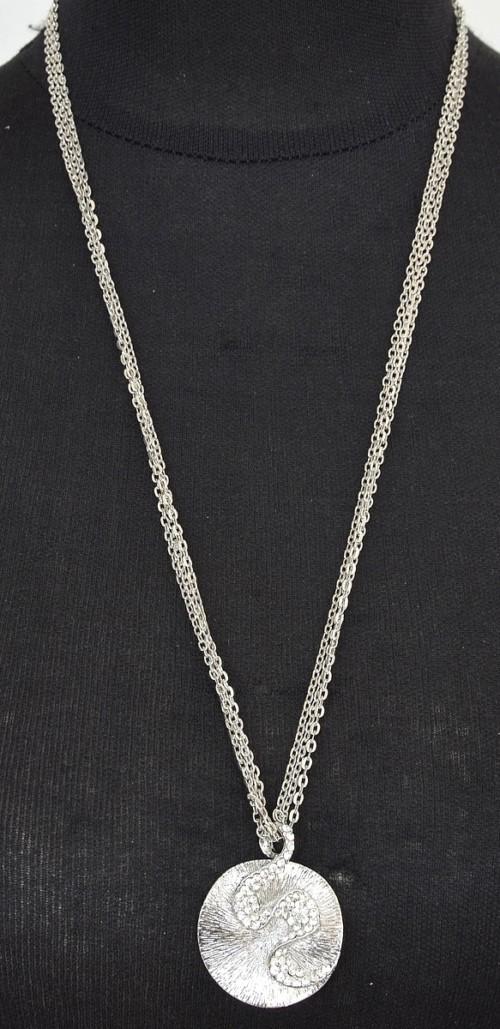Sautoir-Collier-Multi-Chaines-Pendentif-Coquille-Strass-et-Relief-Metal-Argente