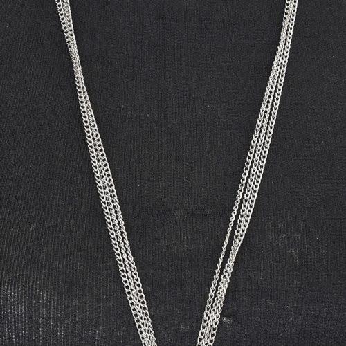Sautoir-Collier-Multi-Chaines-Pendentif-Fleur-Contour-Strass-et-Metal-Argente