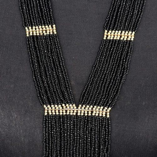 Sautoir-Collier-Multi-Rangs-Perles-de-Rocaille-Cravate-NoirDore