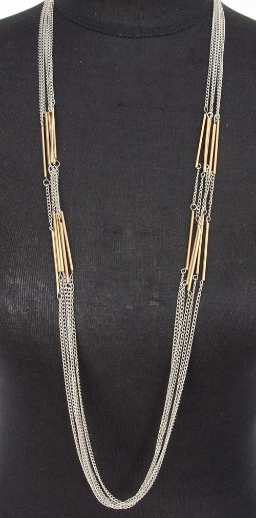 Sautoir-Collier-Multi-Chaines-Argente-et-Tubes-Metal-Dore