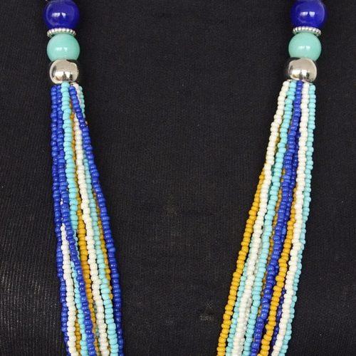 Sautoir-Collier-Multi-Rangs-Boules-Ceramique-et-Perles-Rocaille-Bleu-Jaune