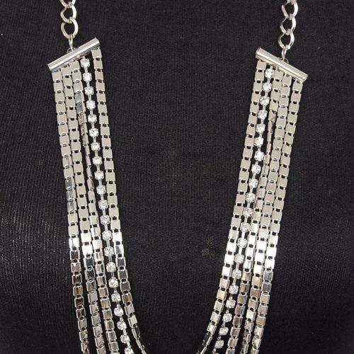 Sautoir-Collier-Multi-Rangs-Chaines-Metal-et-Strass-Argente
