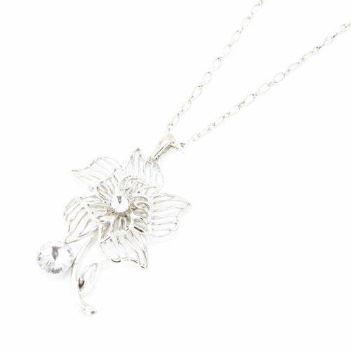 Sautoir-Collier-Pendentif-Fleur-Ajouree-Metal-Argente-et-Pierres