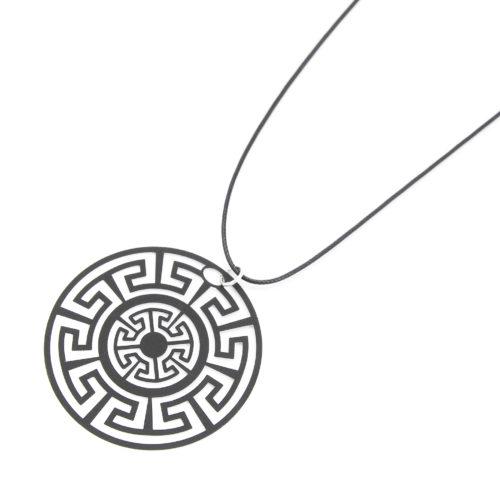 Sautoir-Collier-Fil-Cordon-Pendentif-Labyrinthe-Noir