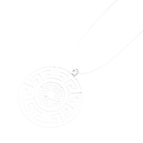 Sautoir-Collier-Fil-Cordon-Pendentif-Labyrinthe-Blanc