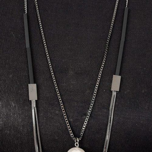 Sautoir-Collier-Double-Rangs-Metal-Gris-avec-Tubes-Rectangles-et-Perle-Nacre