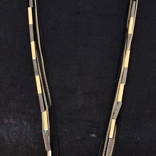 Sautoir-Collier-Multi-Chaines-et-Tubes-Rectangles-Metal-Dore-Gris