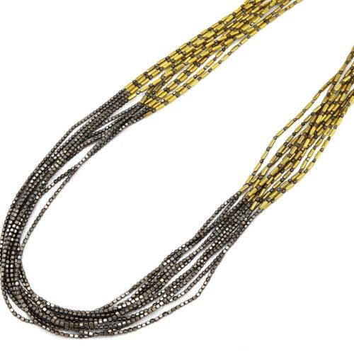 Sautoir-Collier-Multi-Chaines-Perles-Carrees-Metal-GrisDore