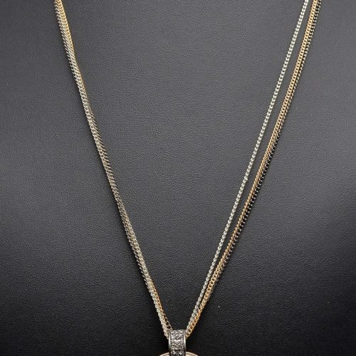 Sautoir-Collier-Multi-Chaines-Pendentif-Cristal-et-Cercles-Metal-Strass-Tricolore