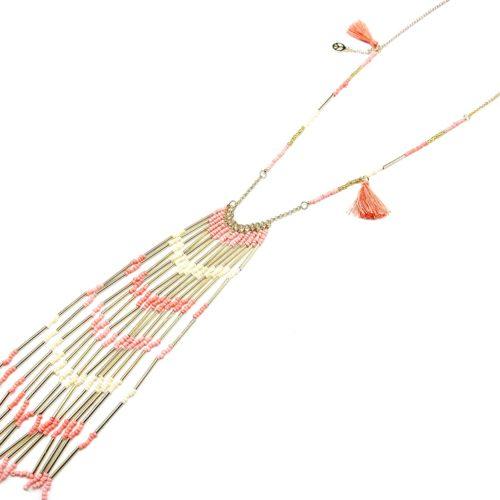 Sautoir-Collier-Pendentif-Ethnique-Cascade-Tubes-et-Perles-Corail