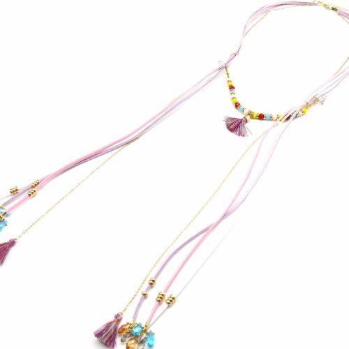 Sautoir-Collier-Style-Foulard-Cordons-Perles-et-Pompons-Ethnique-RoseViolet