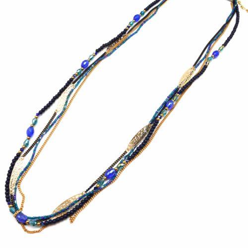 Sautoir-Collier-Multi-Chaines-Ovales-Ciseles-avec-Perles-et-Pierres-Bleu