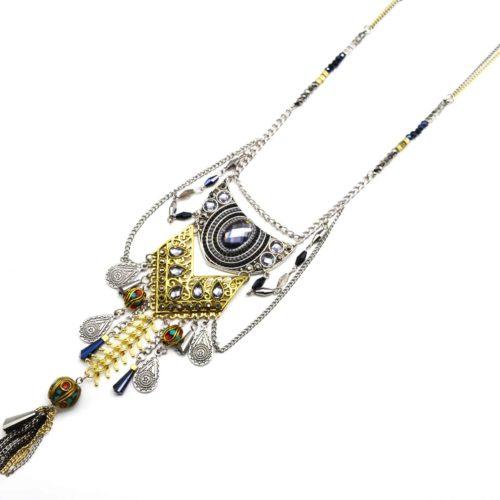 Sautoir-Collier-Double-Chaine-Perles-et-Pendentif-Bohemien-Ethnique-avec-Pierres-Charms-Bicolore